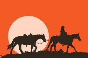 Cawboy con caballos